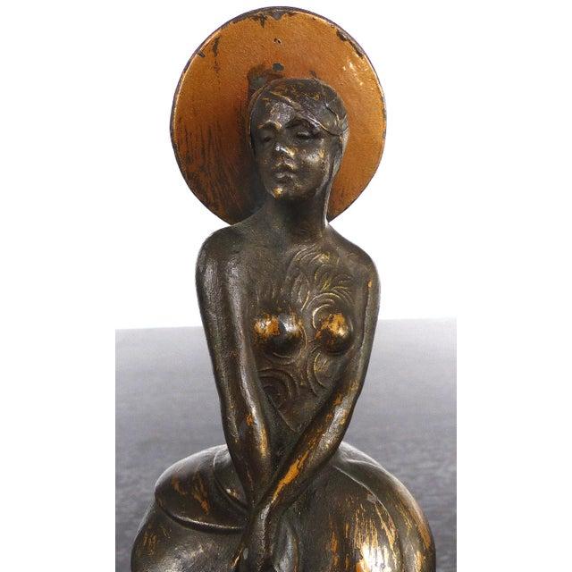 Art Nouveau 1900s Art Nouveau Cast Spelter & Alabaster Sculpture For Sale - Image 3 of 8