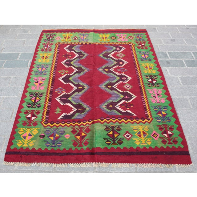 Turkish Konya Kilim Red Green,Yellow Wool Rug