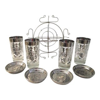Mid-Century Kimiko Guardian Silver Highball Bar Set, 9/Pcs For Sale
