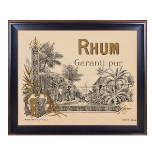 Lithograph of Antique Rum Label From the French West Indies: Rhum Garanti Pur For Sale