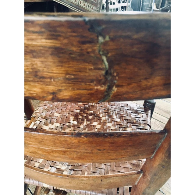 1820s Primitive Woven Seat Ladder-Back Chairs - Set of 4 For Sale In Baltimore - Image 6 of 7
