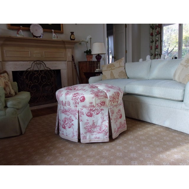 Vintage round ottoman newly reupholstered in rare Hallie Greer Rose Toile Francaise. This is a hand screened print made in...