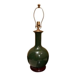 Custom Made Dark Green Christopher Spitzmiller Medium Single Gourd Lamp For Sale