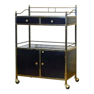 Midcentury Two-Tier Brass and Black Laminate Bar Cart by Maxwell Phillips, Ny For Sale