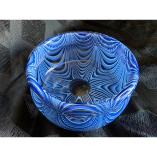 "1960s Vintage Antonio Da Ros for Cenedese Murano ""Zebrati"" Blue Cased Glass Trinket Dish Bowl Preview"
