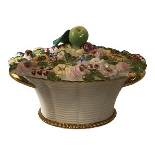Portugal Flowered Covered Gold Trim Tureen Dish
