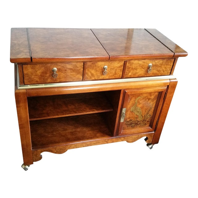 Oriental-Inspired Rolling Credenza Sideboard For Sale