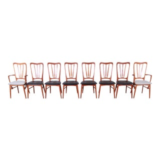 Niels Koefoed for Koefoeds Hornslet Danish Modern Sculpted Teak Ingrid Dining Chairs, Set of Eight For Sale