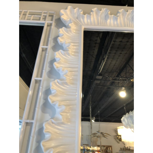 Hollywood Regency Vintage Hollywood Regency Lacquered White Ruffle Scalloped Wall Mirror For Sale - Image 3 of 12