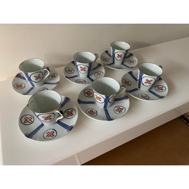 Mid Century Japanese Tea Cups and Saucers - Set of 6 For Sale - Image 13 of 13