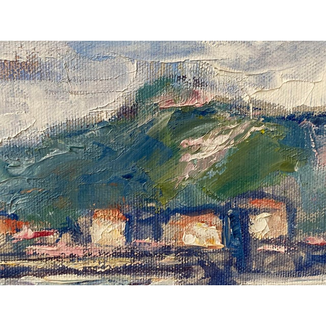 """Midcentury French Oil Painting on Canvas, """"Saint-Tropez, France"""" - 1962 For Sale - Image 9 of 13"""