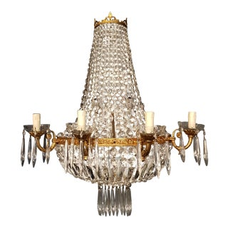 Antique Pair Wall Lights Circa 1930 Sconce Wall Light Crystal Empire Sac a Pearl For Sale