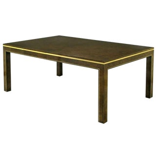 Mastercraft Amboyna Burl and Brass Parsons Leg Dining Table For Sale