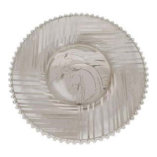 Art Deco Sterling Silver Overlay Horse Plate with Hobnail Details For Sale