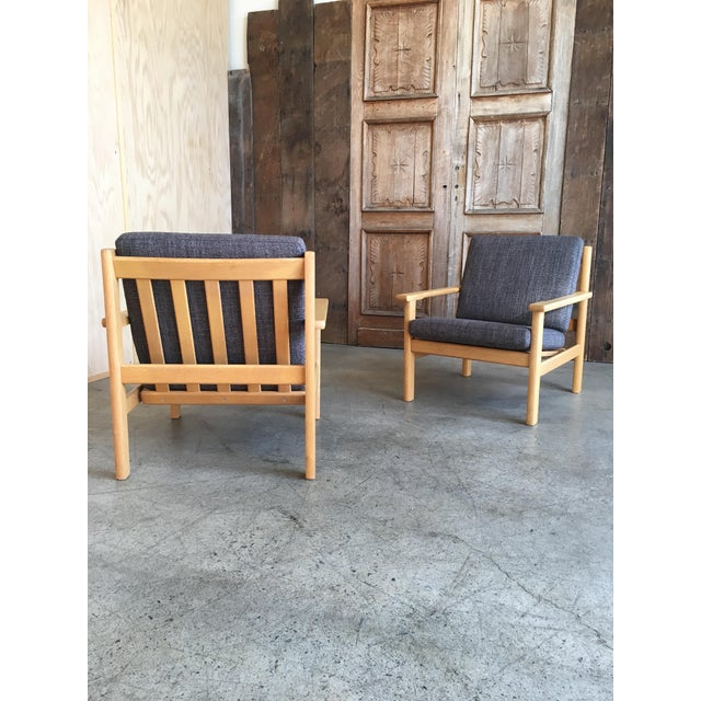 Mid 20th Century Hans Wegner Oak Lounge Chairs - a Pair For Sale - Image 5 of 10