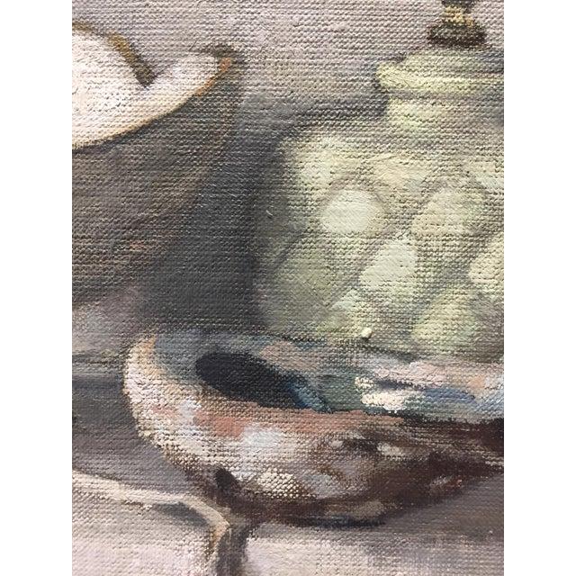 "Paula Rubino Rubino Oil Painting ""Pineapple Lamp"", Contemporary Gray Still Life For Sale - Image 4 of 6"