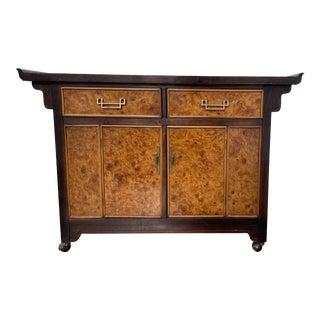 1970s Art Deco Bernhardt Burl Wood Storage Cabinet For Sale