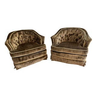 Highland House Vintage Velvet Tub Chairs on Wheels - Pair For Sale