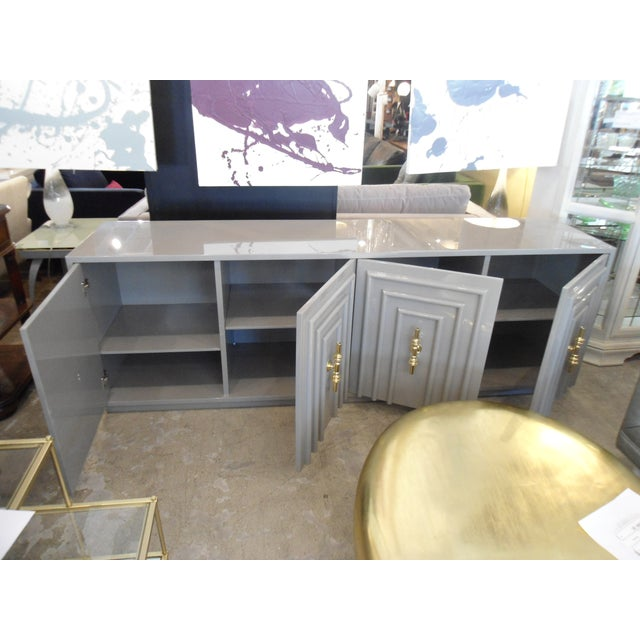 ModShop Art Deco Gray Lacquer W/ Gold Pulls Sideboard For Sale In Los Angeles - Image 6 of 9