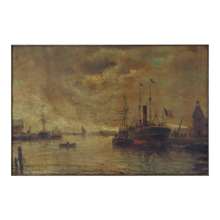 """French Ships at Dock, Signed Illegibly """"lr 'barlhey"""" in a Giltwood Frame For Sale"""