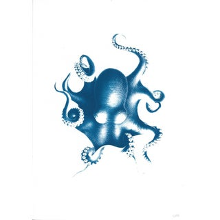 Octopus Print Cyanotype Limited Edition, Handmade Wall Art, Beach Hose Decor, Trending 2019, Coastal Decor, Wall Art, Nautical Decor For Sale
