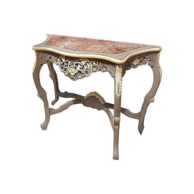 Carved Rocco-Style Marble-Top Console - Image 1 of 5