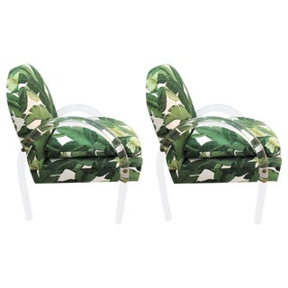 Pair of Vintage Lucite Armchairs by Lion in Frost With Banana Leaf Upholstery For Sale