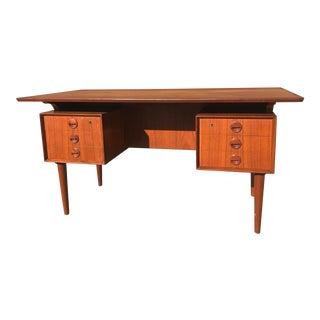 1950s Danish Modern Kristensen and Thomassen Teak Executive Desk For Sale