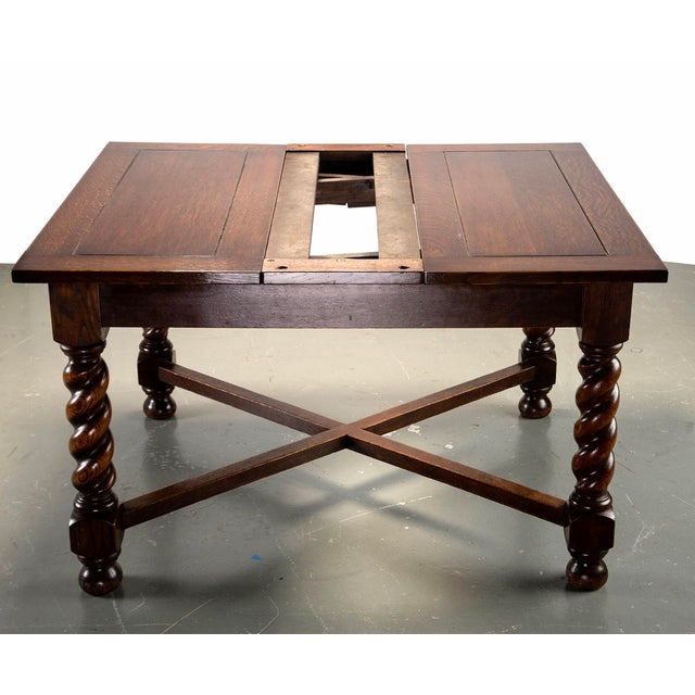 Rustic Dutch Oak Refectory Table With Large Barley Twist Legs For Sale - Image 3 of 11