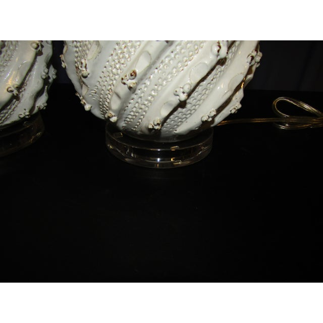 Contemporary Ceramic Pineapple Lamps with White Glaze and Drum Shades - a Pair For Sale - Image 3 of 7