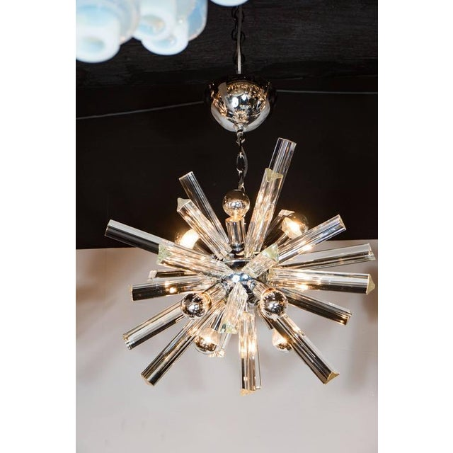 1970s Mid-Century Modern Sputnik Chrome Chandelier with Murano Triedre Rods by Camer For Sale - Image 5 of 8