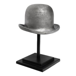 1980s Cast Metal Bowler Hat & Stand For Sale