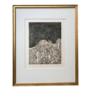 Vintage Mid Century Abstract Surrealist Etching Tropical Forest For Sale