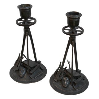 Bronze Candle Holders - A Pair