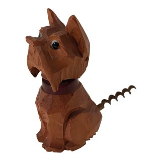 Vintage Carved Wooden Scottie Dog Figural Corkscrew For Sale