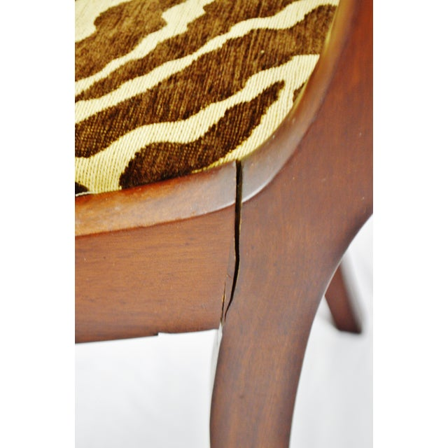 Vintage Victorian Style Side Chair With Animal Print Cushion For Sale - Image 10 of 13
