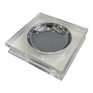 Vintage Square Lucite and Steel Catchall For Sale