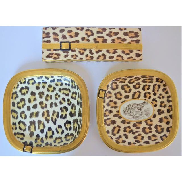 Mottahedeh 1970s Vintage Italian Mottahedeh Leopard Ceramic Set - 3 Pieces For Sale - Image 4 of 10