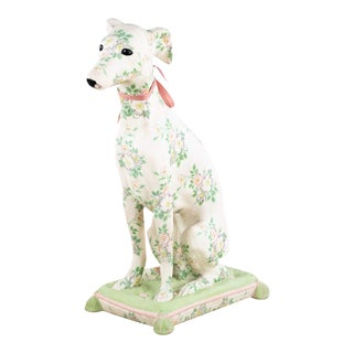 Leona White White Floral Hand-Made Ceramic Dog Sculpture For Sale