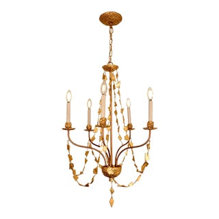 Mosaic 5 Light Mini Chandelier, Antique Gold For Sale