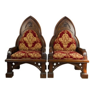 19th C. Gothic Revival King & Queen Throne Chairs - APair