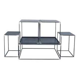 Minimalist 'Filiforme' Minimalist Patinated Steel Living Room Tables - Set of 5 For Sale