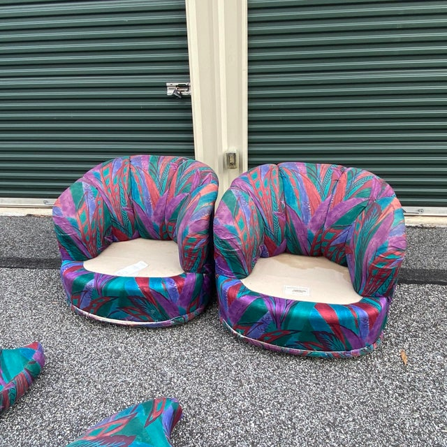 Purple 1980s Modern Swivel Chairs by American of Martinsville - a Pair For Sale - Image 8 of 13