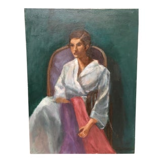Painting of a Portrait a Woman in a Robe, Signed For Sale
