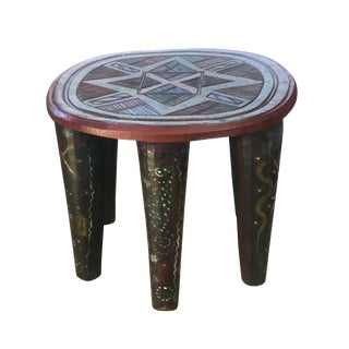 "Superb African Lg Nupe Stool / Table Nigeria 20.5"" W by 17"" H For Sale"