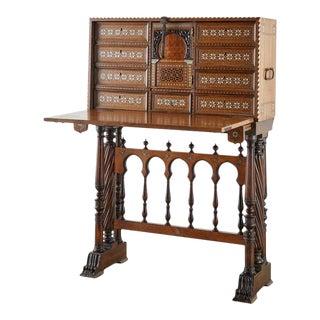 Moorish 18th Century Spanish Vargueño Cabinet Desk on Stand For Sale