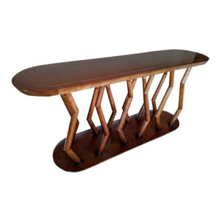 Wooden Console with Zig-Zag Round Wood Legs, Vintage For Sale