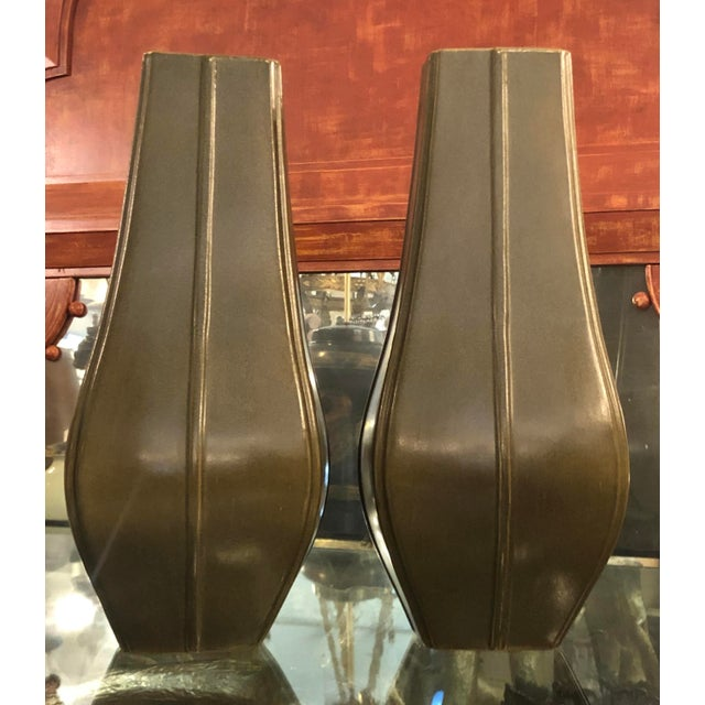 Art Deco Antique Art Deco Chinese Pottery Vases - a Pair For Sale - Image 3 of 5
