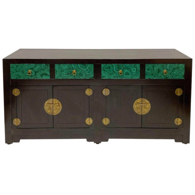 1970s Modern Asian Style Credenza With Faux Malachite Accents by Henredon For Sale - Image 5 of 6