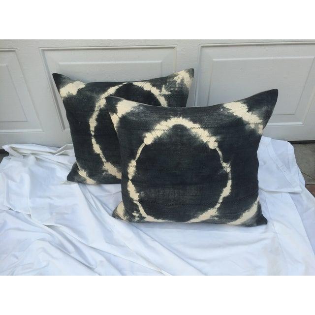 Grey Tie-Dye Mud Cloth Pillows - Pair - Image 4 of 6